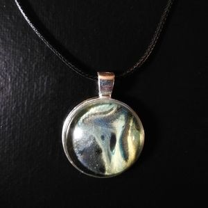 Black and gold galaxy acrylic fluid art pendant